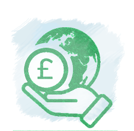 Save the planet and money icon