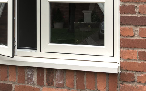 White flush sash window frame