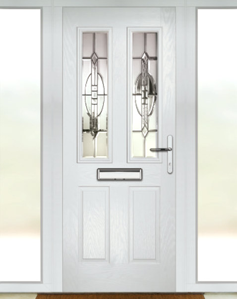 Composite front door inside with side panels