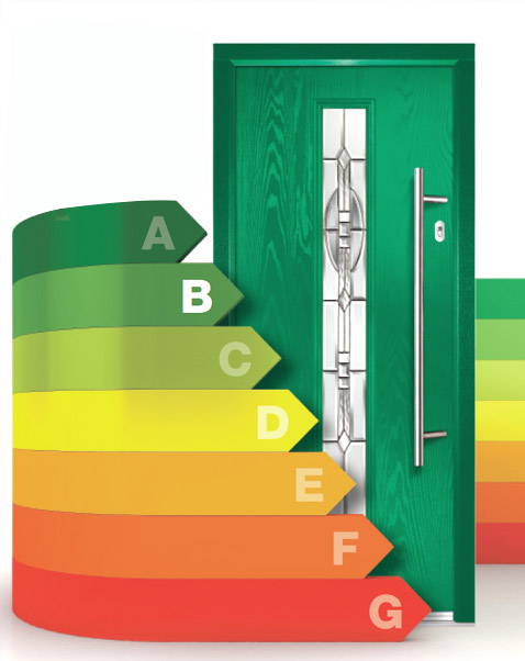 Composite front door thermal rating diagram