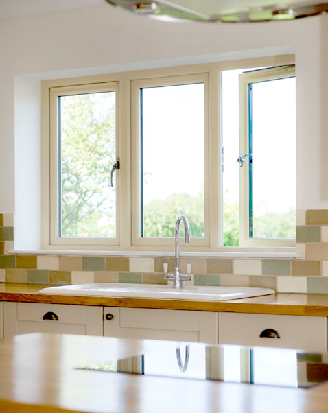 Sculptured sash kitchen windows