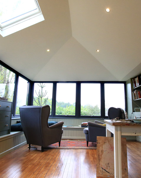 Stylish solid roof conservatory interior