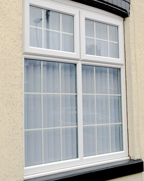 upvc chamfered sash window frame with georgian bars