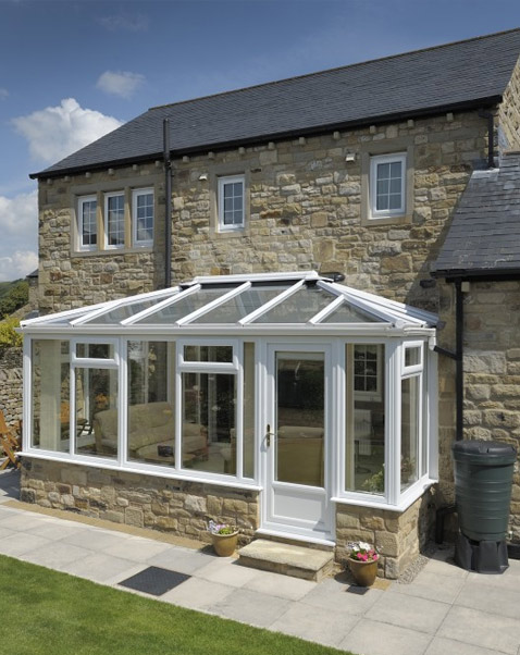 White upvc conservatory using Smartglass glazing