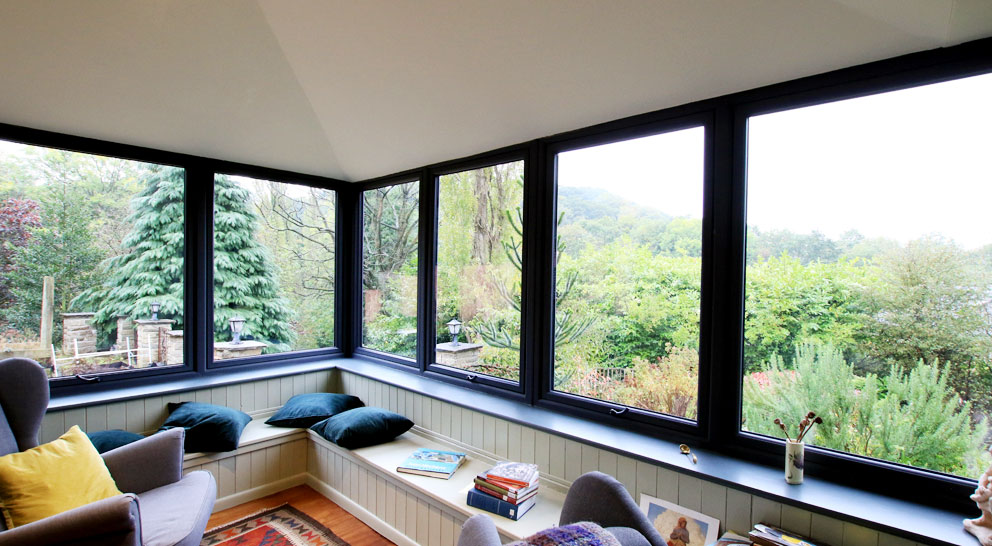 View from inside a solid roof conservatory