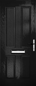 Black 4 Panel Solid Composite Door