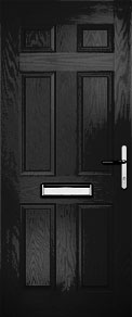 Black 6 Panel Solid Composite Door