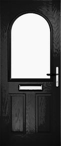 Black Half Glazed Arch Composite Door