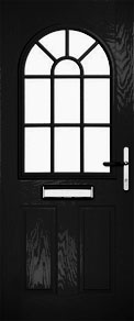 Black Half Glazed Arch Grid Composite Door