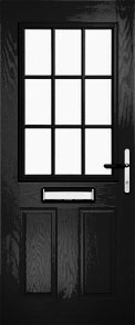 Black Half Glazed Grid Composite Door