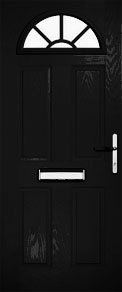 Black Half Moon Sunburst Composite Door